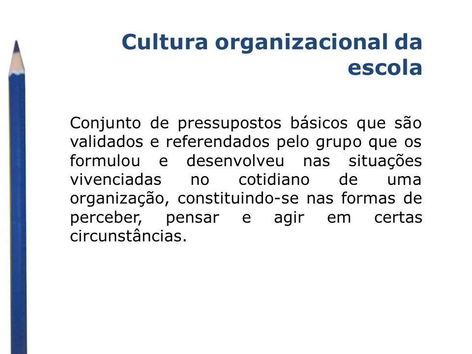Cultura organizacional da escola Conjunto de pressupostos básicos que são validados e referendados pelo grupo que os formulou e desenvolveu nas situaç