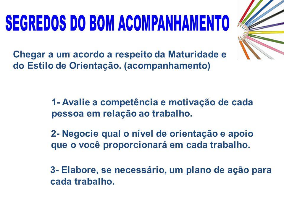 3- Elabore, se necessário, um plano de ação para cada trabalho. Chegar a um acordo a respeito da Maturidade e do Estilo de Orientação. (acompanhamento