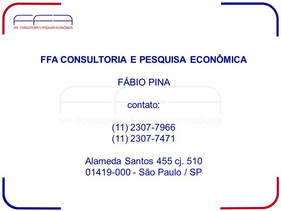 FFA CONSULTORIA E PESQUISA ECONÔMICA FÁBIO PINA contato: (11) 2307-7966 (11) 2307-7471 Alameda Santos 455 cj. 510 01419-000 - São Paulo / SP