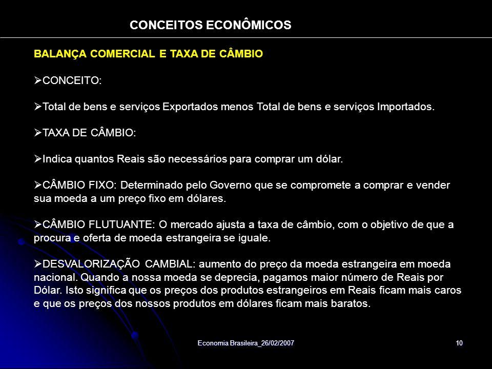 Economia Brasileira_26/02/2007 10 BALANÇA COMERCIAL E TAXA DE CÂMBIO CONCEITO: Total de bens e serviços Exportados menos Total de bens e serviços Importados.
