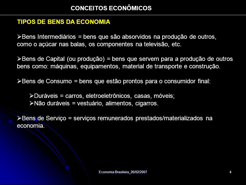 Economia Brasileira_26/02/2007 4 TIPOS DE BENS DA ECONOMIA Bens Intermediários = bens que são absorvidos na produção de outros, como o açúcar nas balas, os componentes na televisão, etc.