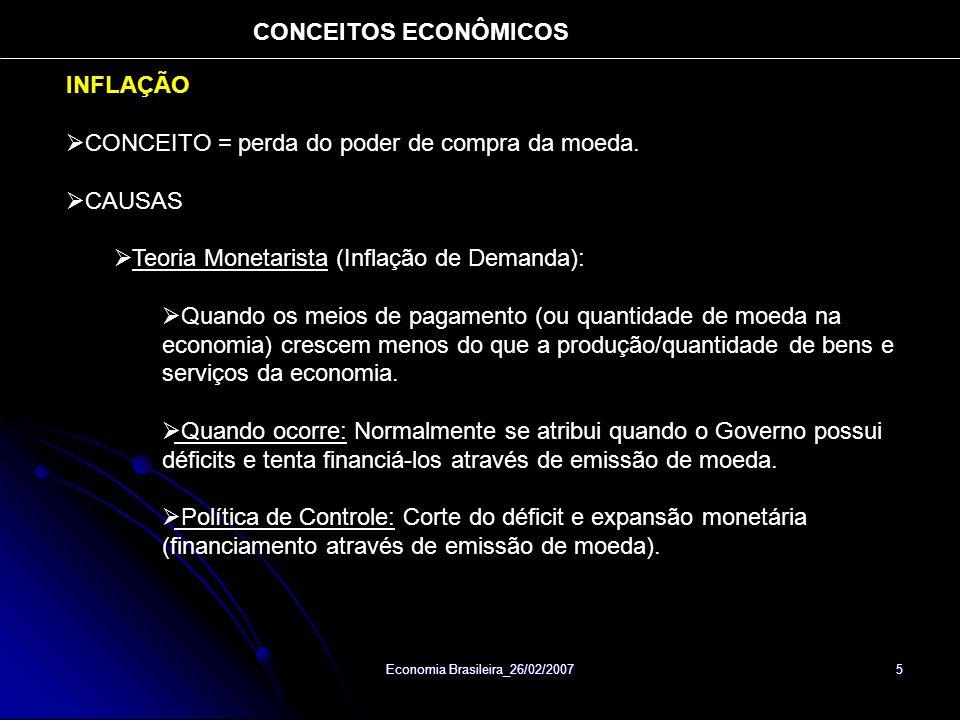 Economia Brasileira_26/02/2007 5 INFLAÇÃO CONCEITO = perda do poder de compra da moeda. CAUSAS Teoria Monetarista (Inflação de Demanda): Quando os mei