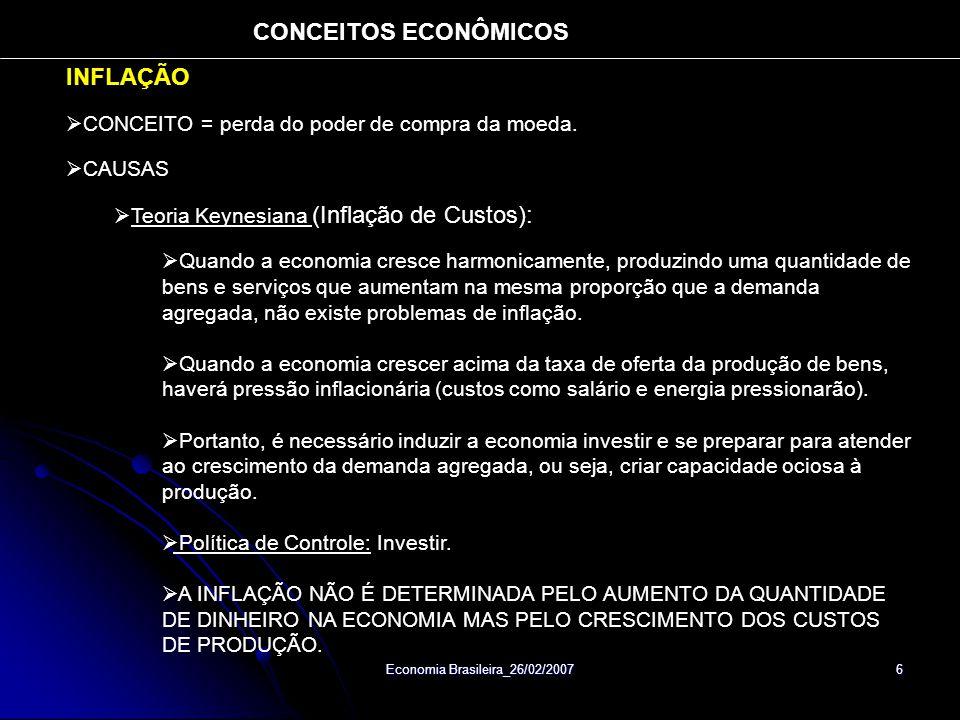 Economia Brasileira_26/02/2007 6 INFLAÇÃO CONCEITO = perda do poder de compra da moeda. CAUSAS Teoria Keynesiana (Inflação de Custos): Quando a econom