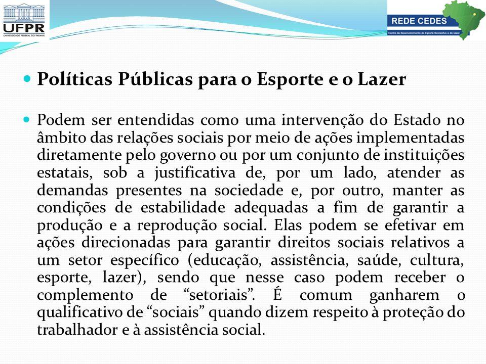 Políticas Públicas para o Esporte e o Lazer Podem ser entendidas como uma intervenção do Estado no âmbito das relações sociais por meio de ações imple