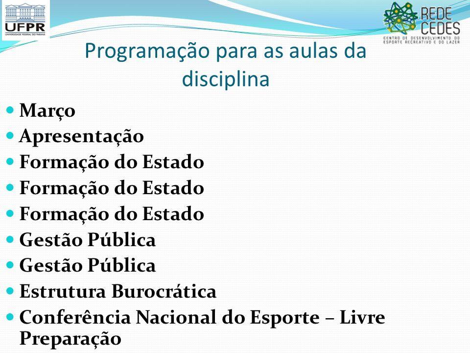 Programação para as aulas da disciplina Março Apresentação Formação do Estado Gestão Pública Estrutura Burocrática Conferência Nacional do Esporte – L