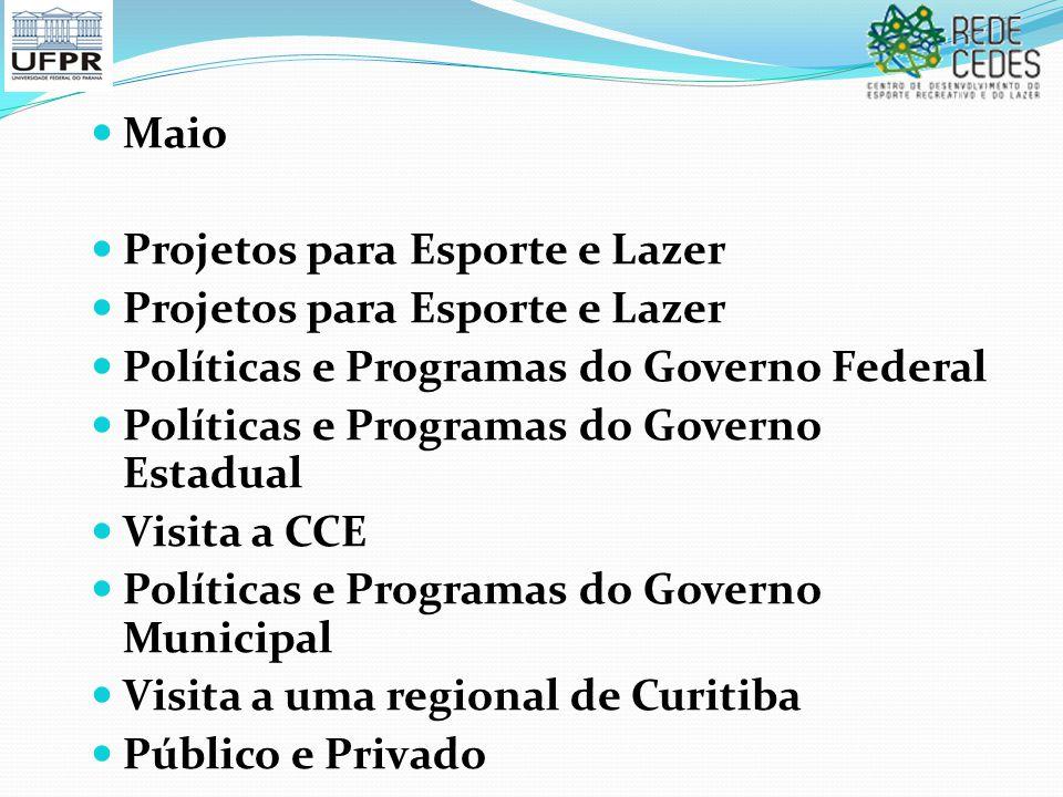 Maio Projetos para Esporte e Lazer Políticas e Programas do Governo Federal Políticas e Programas do Governo Estadual Visita a CCE Políticas e Program