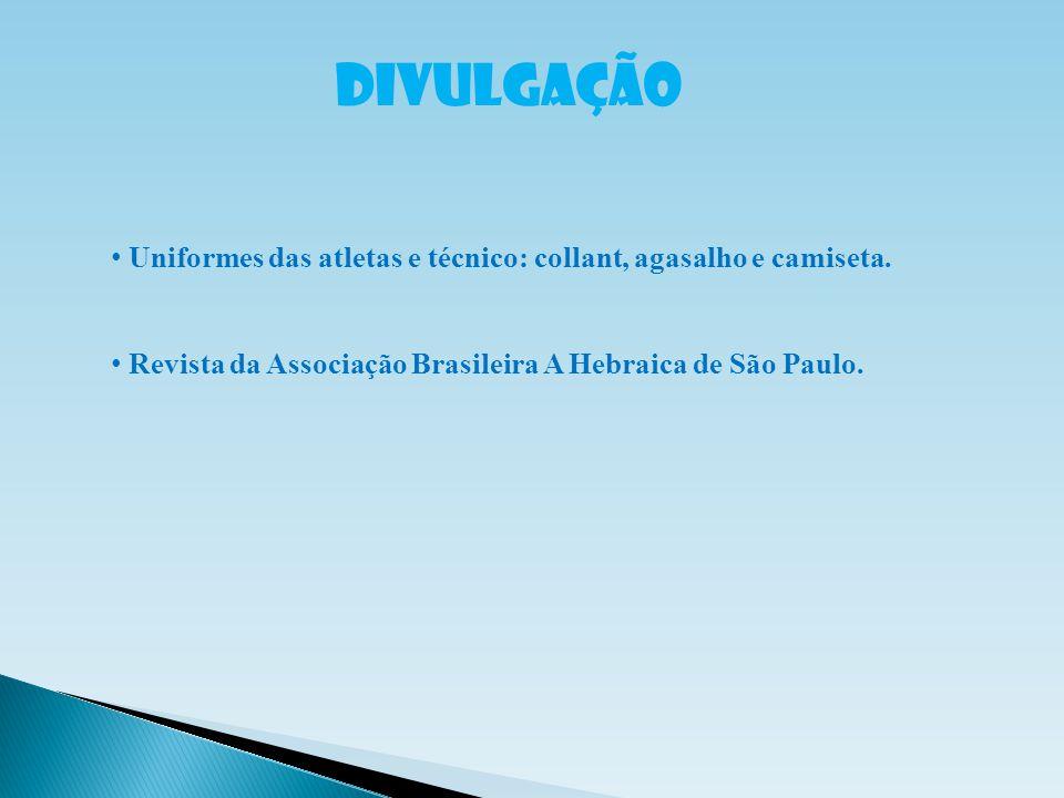 DIVULGAÇÃO Uniformes das atletas e técnico: collant, agasalho e camiseta. Revista da Associação Brasileira A Hebraica de São Paulo.