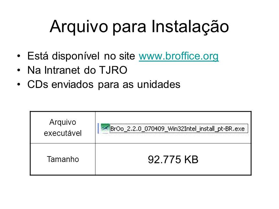 Arquivo para Instalação Está disponível no site www.broffice.orgwww.broffice.org Na Intranet do TJRO CDs enviados para as unidades Arquivo executável