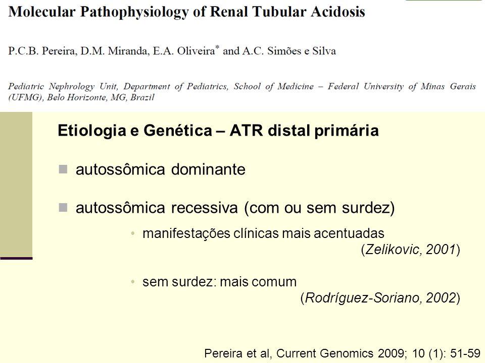 Etiologia e Genética – ATR distal primária autossômica dominante autossômica recessiva (com ou sem surdez) manifestações clínicas mais acentuadas (Zel