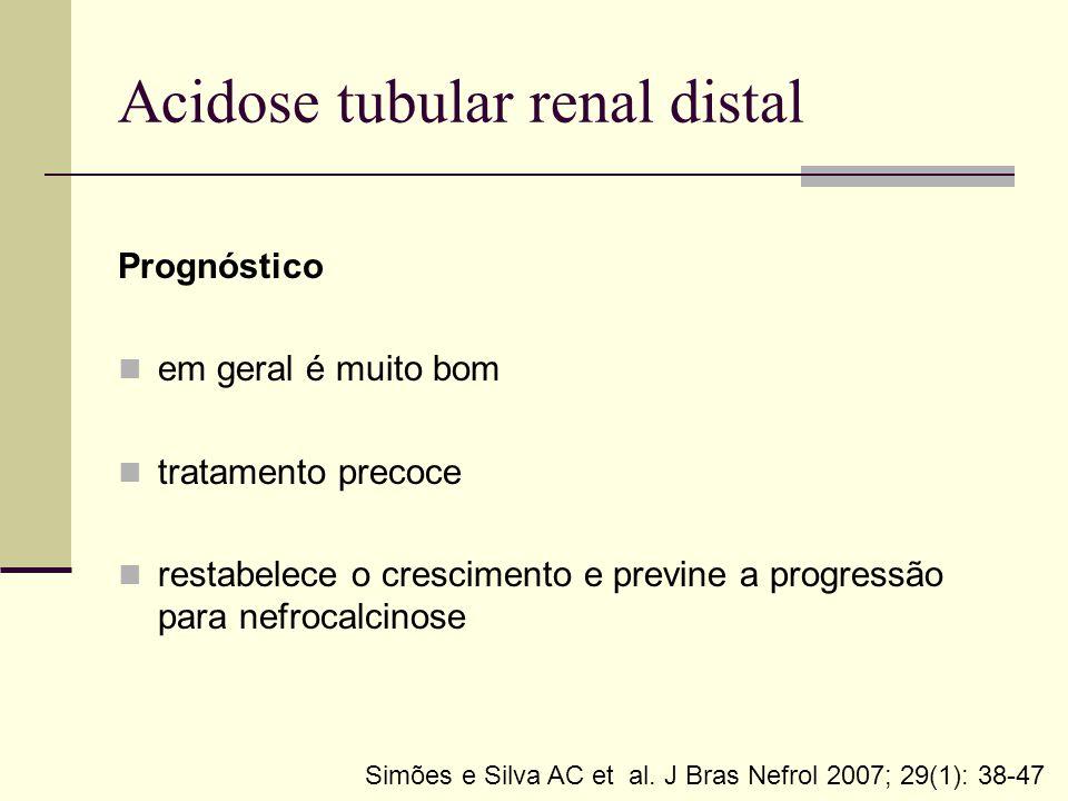 Acidose tubular renal distal Prognóstico em geral é muito bom tratamento precoce restabelece o crescimento e previne a progressão para nefrocalcinose