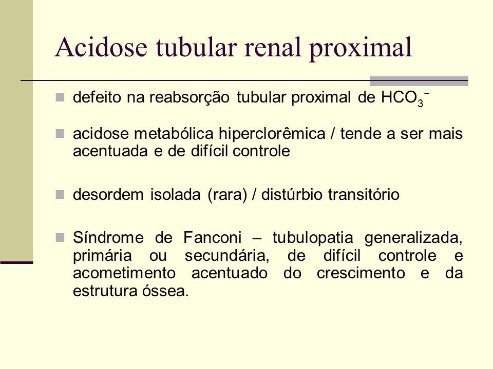 Acidose tubular renal proximal defeito na reabsorção tubular proximal de HCO 3 acidose metabólica hiperclorêmica / tende a ser mais acentuada e de dif