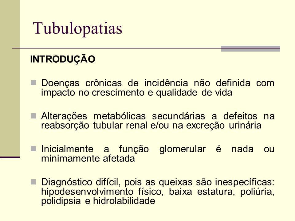 Tubulopatias INTRODUÇÃO Doenças crônicas de incidência não definida com impacto no crescimento e qualidade de vida Alterações metabólicas secundárias