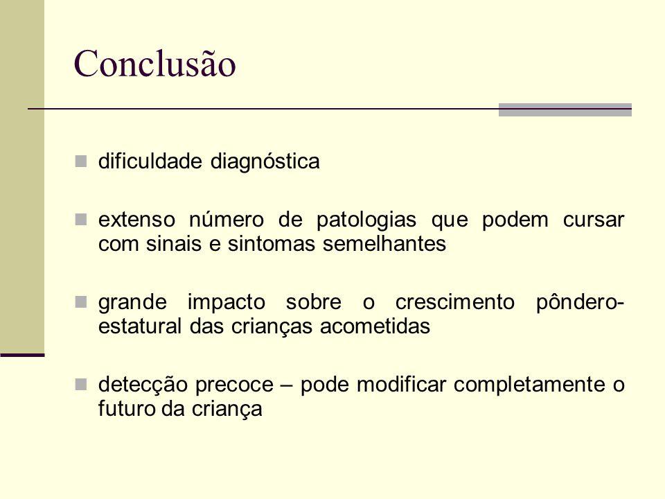 Conclusão dificuldade diagnóstica extenso número de patologias que podem cursar com sinais e sintomas semelhantes grande impacto sobre o crescimento p