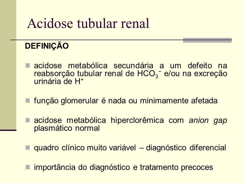 Acidose tubular renal DEFINIÇÃO acidose metabólica secundária a um defeito na reabsorção tubular renal de HCO 3 e/ou na excreção urinária de H + funçã