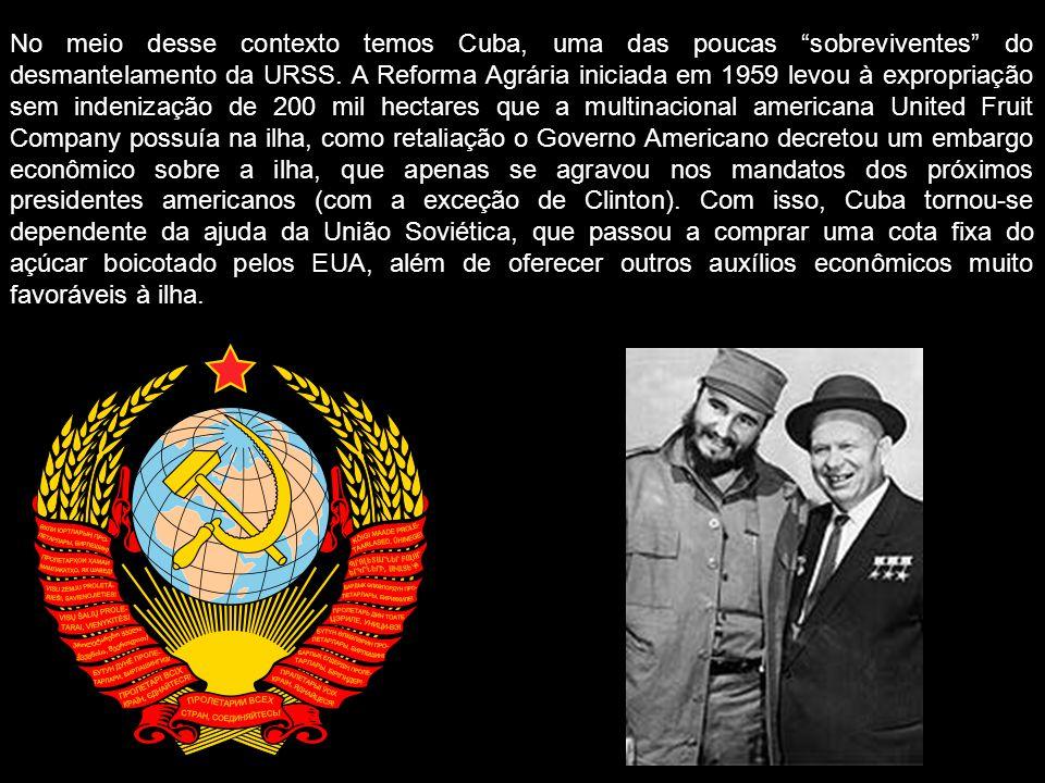 No meio desse contexto temos Cuba, uma das poucas sobreviventes do desmantelamento da URSS. A Reforma Agrária iniciada em 1959 levou à expropriação se