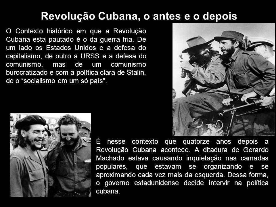 Revolução Cubana, o antes e o depois O Contexto histórico em que a Revolução Cubana esta pautado é o da guerra fria. De um lado os Estados Unidos e a
