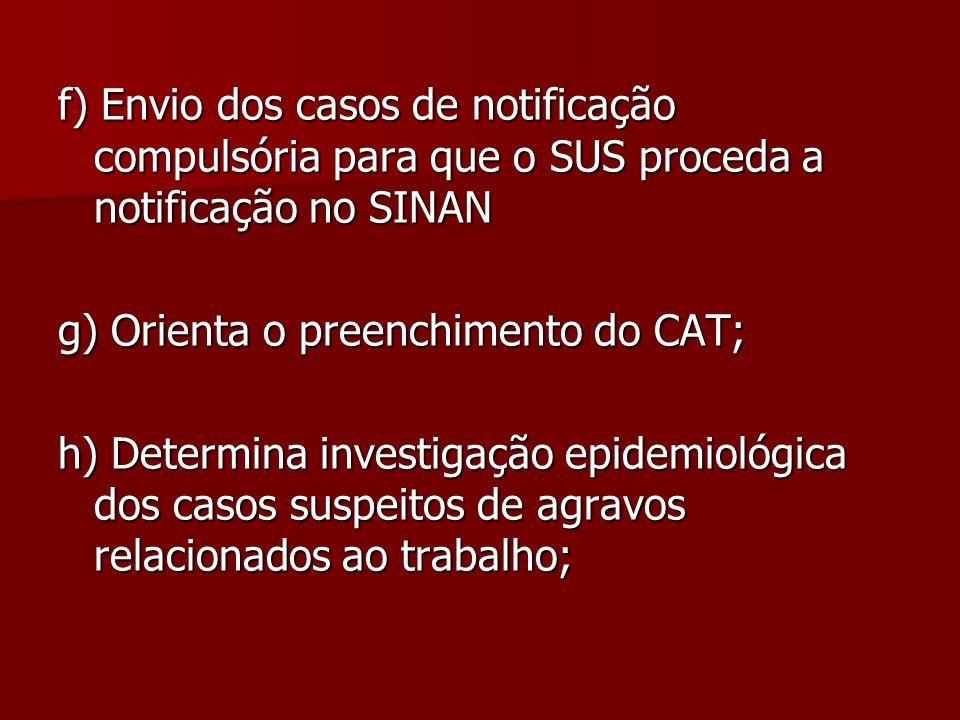 f) Envio dos casos de notificação compulsória para que o SUS proceda a notificação no SINAN g) Orienta o preenchimento do CAT; h) Determina investigaç