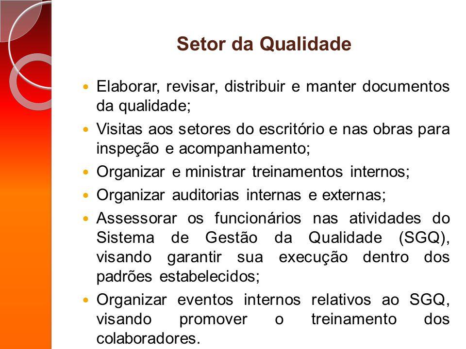 Setor da Qualidade Elaborar, revisar, distribuir e manter documentos da qualidade; Visitas aos setores do escritório e nas obras para inspeção e acomp