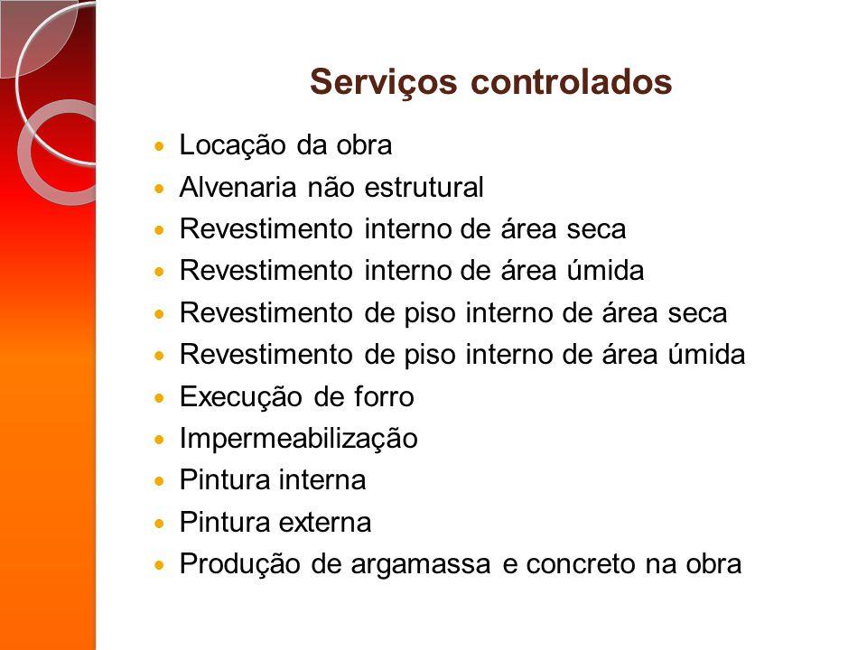 Serviços controlados Locação da obra Alvenaria não estrutural Revestimento interno de área seca Revestimento interno de área úmida Revestimento de pis