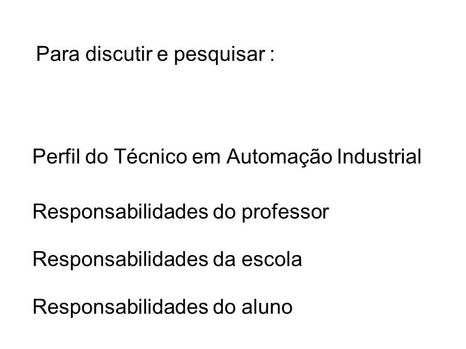 Perfil do Técnico em Automação Industrial Responsabilidades do professor Responsabilidades da escola Responsabilidades do aluno Para discutir e pesqui
