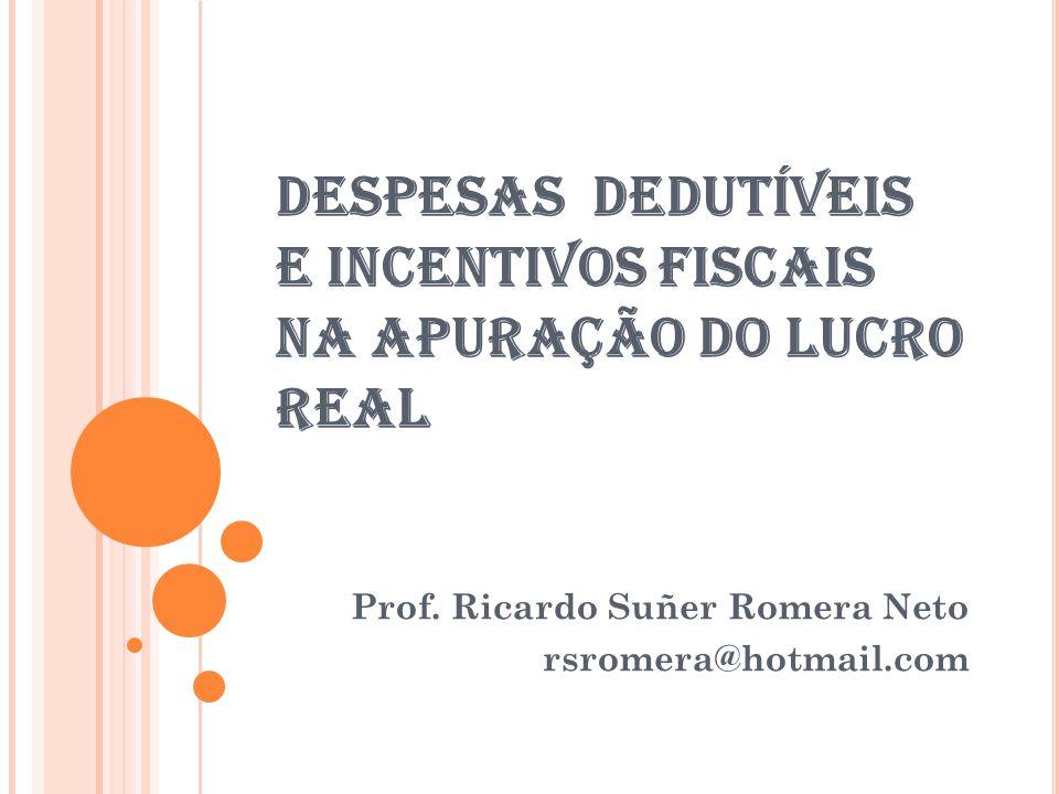 DESPESAS DEDUTÍVEIS E INCENTIVOS FISCAIS NA APURAÇÃO DO LUCRO REAL Prof.