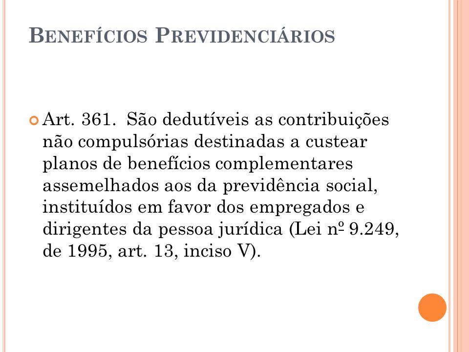 B ENEFÍCIOS P REVIDENCIÁRIOS Art.361.