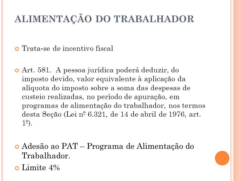 ALIMENTAÇÃO DO TRABALHADOR Trata-se de incentivo fiscal Art.