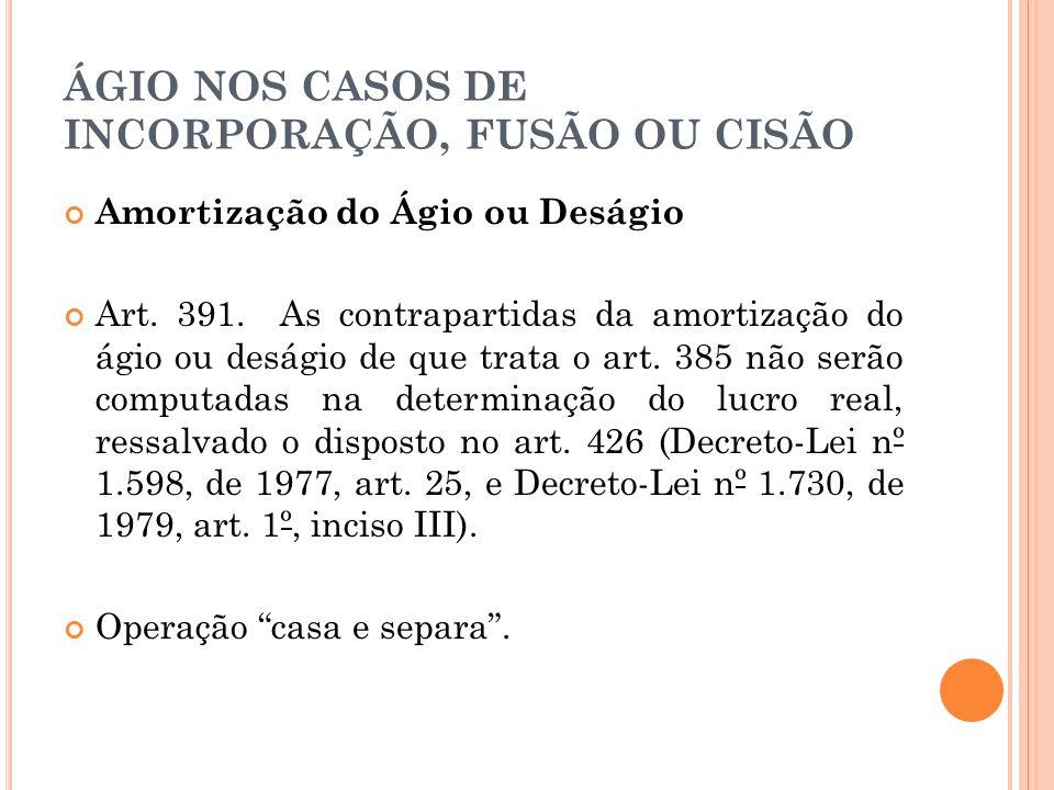 ÁGIO NOS CASOS DE INCORPORAÇÃO, FUSÃO OU CISÃO Amortização do Ágio ou Deságio Art.
