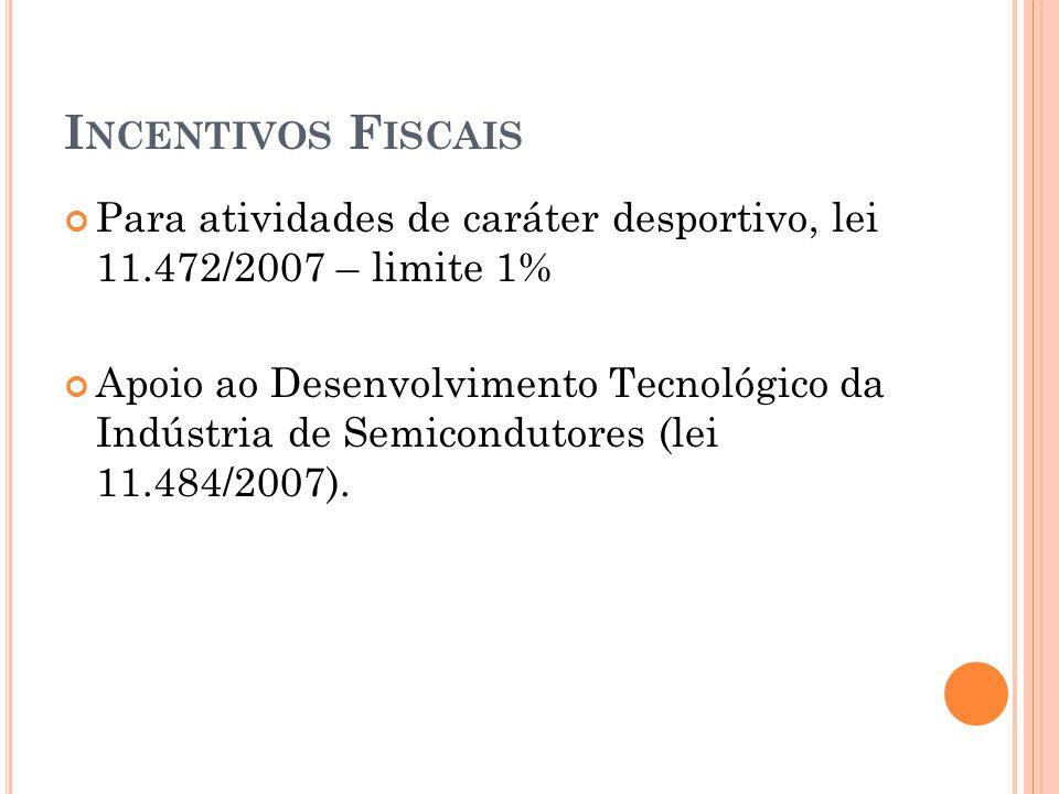 I NCENTIVOS F ISCAIS Para atividades de caráter desportivo, lei 11.472/2007 – limite 1% Apoio ao Desenvolvimento Tecnológico da Indústria de Semicondutores (lei 11.484/2007).
