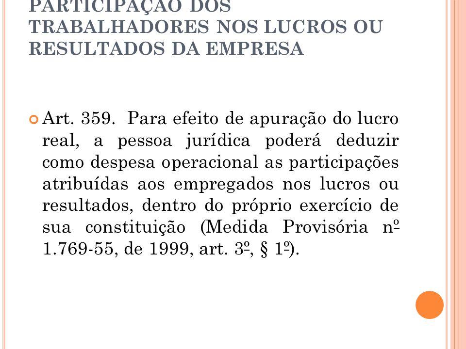 PARTICIPAÇÃO DOS TRABALHADORES NOS LUCROS OU RESULTADOS DA EMPRESA Art.