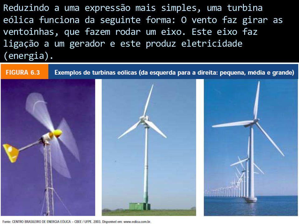 Reduzindo a uma expressão mais simples, uma turbina eólica funciona da seguinte forma: O vento faz girar as ventoinhas, que fazem rodar um eixo. Este