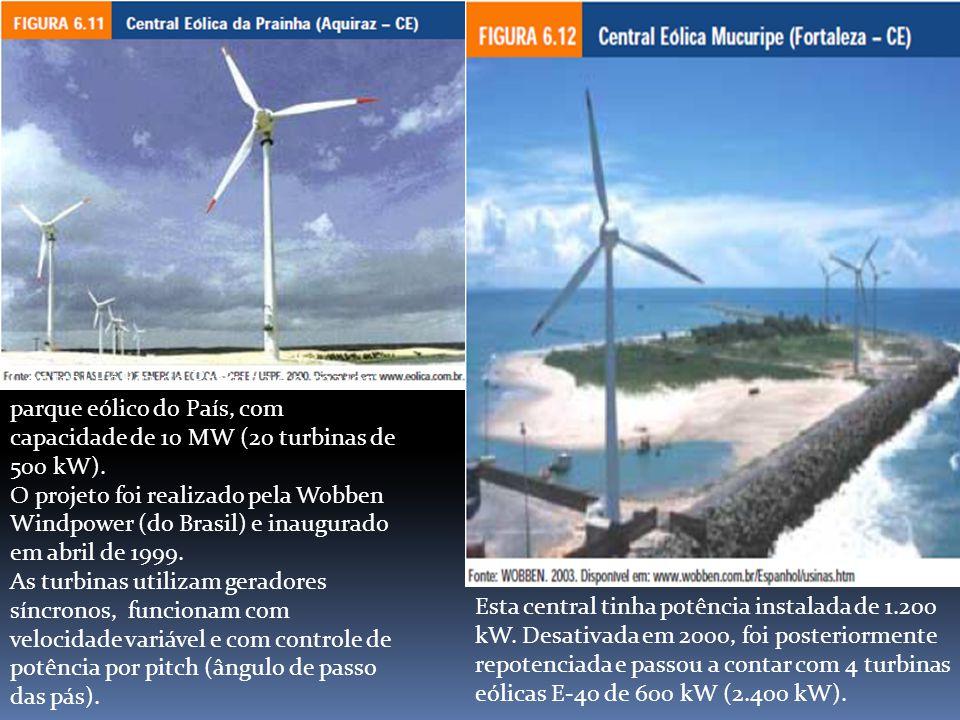 Central Eólica de Prainha é o maior parque eólico do País, com capacidade de 10 MW (20 turbinas de 500 kW). O projeto foi realizado pela Wobben Windpo