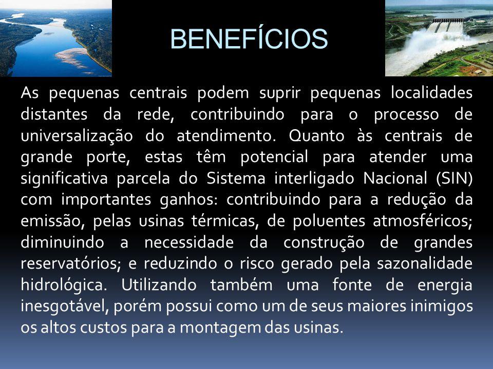 BENEFÍCIOS As pequenas centrais podem suprir pequenas localidades distantes da rede, contribuindo para o processo de universalização do atendimento. Q
