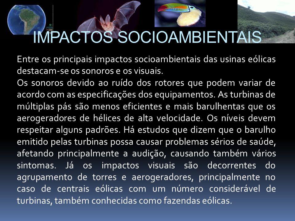 Entre os principais impactos socioambientais das usinas eólicas destacam-se os sonoros e os visuais. Os sonoros devido ao ruído dos rotores que podem
