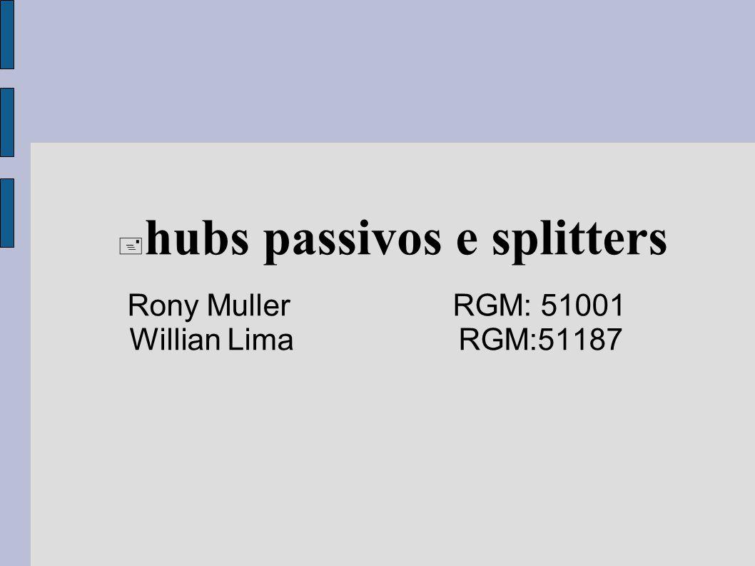 Rony Muller RGM: 51001 Willian Lima RGM:51187 hubs passivos e splitters