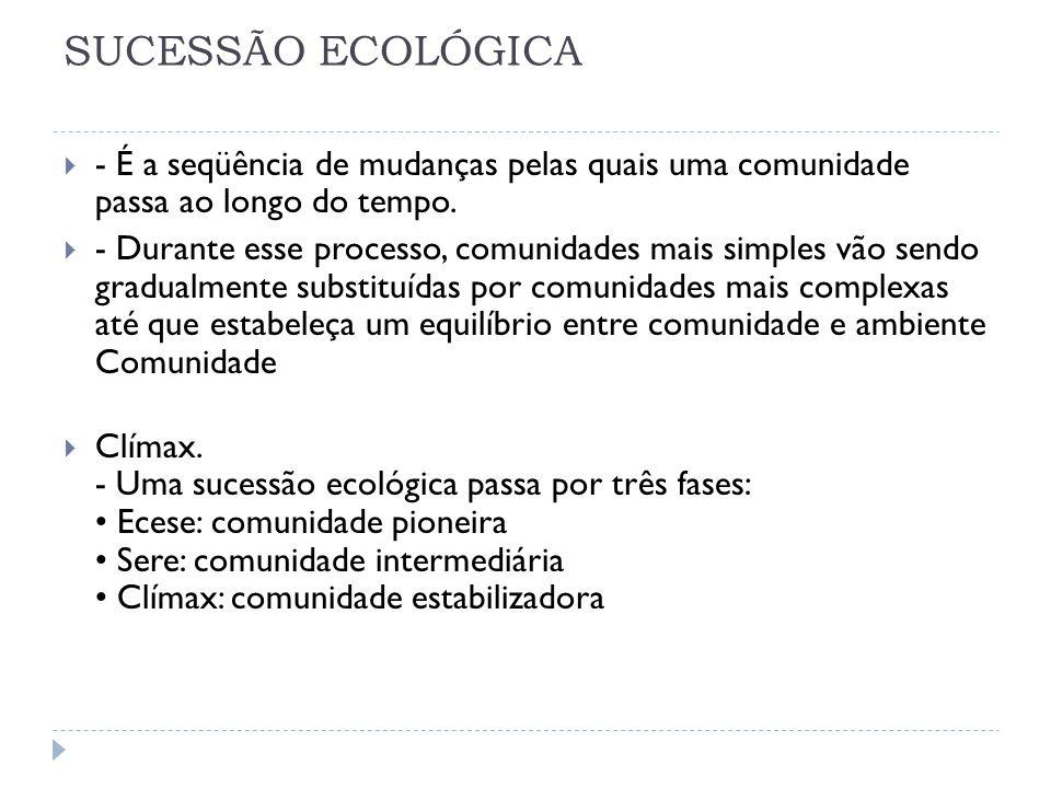 SUCESSÃO ECOLÓGICA - É a seqüência de mudanças pelas quais uma comunidade passa ao longo do tempo. - Durante esse processo, comunidades mais simples v
