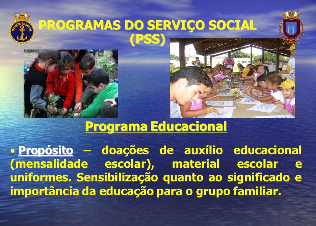 Programa Educacional Propósito Propósito – doações de auxílio educacional (mensalidade escolar), material escolar e uniformes. Sensibilização quanto a