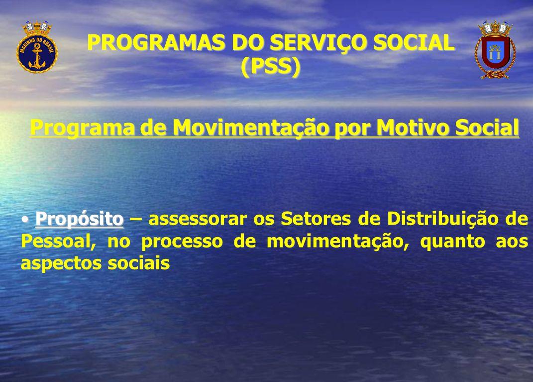 Programa de Movimentação por Motivo Social Propósito Propósito – assessorar os Setores de Distribuição de Pessoal, no processo de movimentação, quanto