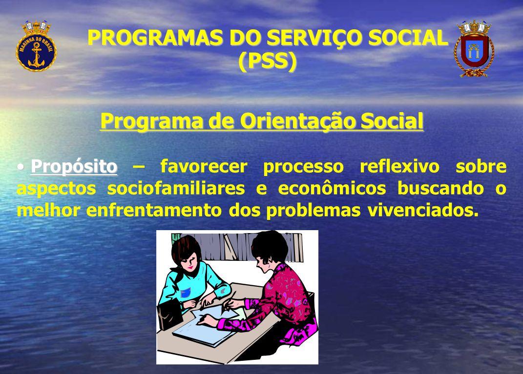 Programa de Orientação Social Propósito Propósito – favorecer processo reflexivo sobre aspectos sociofamiliares e econômicos buscando o melhor enfrent