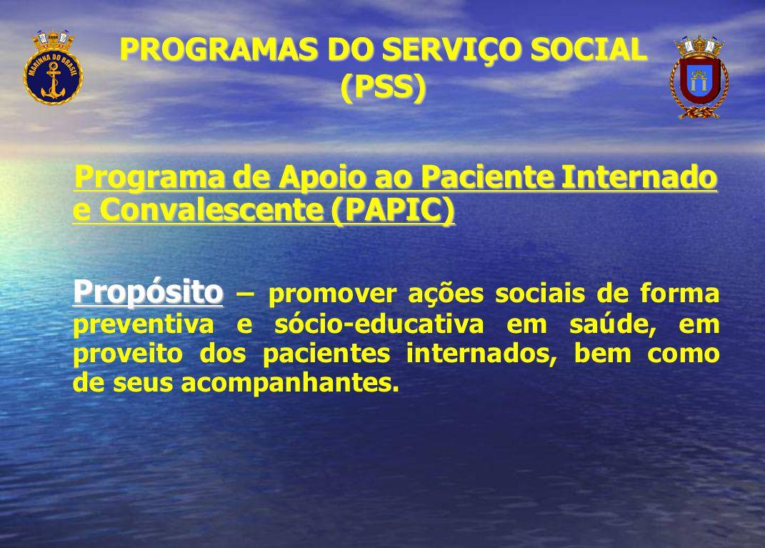 Programa de Apoio ao Paciente Internado e Convalescente (PAPIC) Propósito Propósito – promover ações sociais de forma preventiva e sócio-educativa em