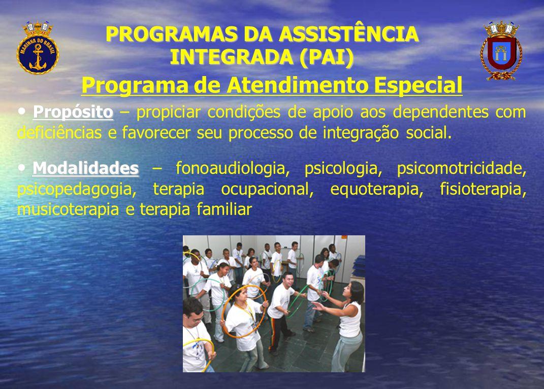 Programa de Atendimento Especial Propósito Propósito – propiciar condições de apoio aos dependentes com deficiências e favorecer seu processo de integ
