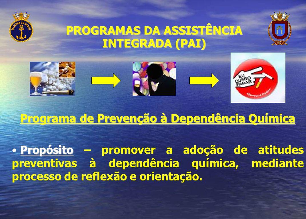 Programa de Prevenção à Dependência Química Propósito Propósito – promover a adoção de atitudes preventivas à dependência química, mediante processo d