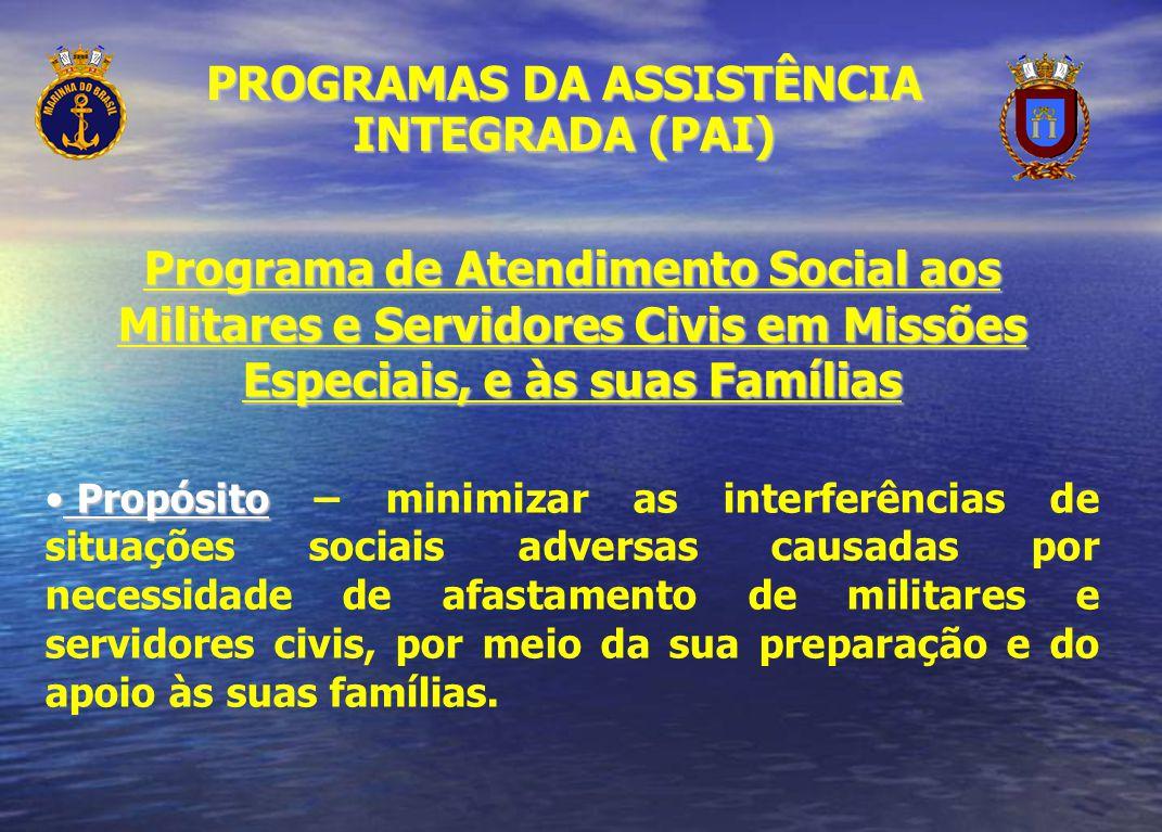 Programa de Atendimento Social aos Militares e Servidores Civis em Missões Especiais, e às suas Famílias Propósito Propósito – minimizar as interferên
