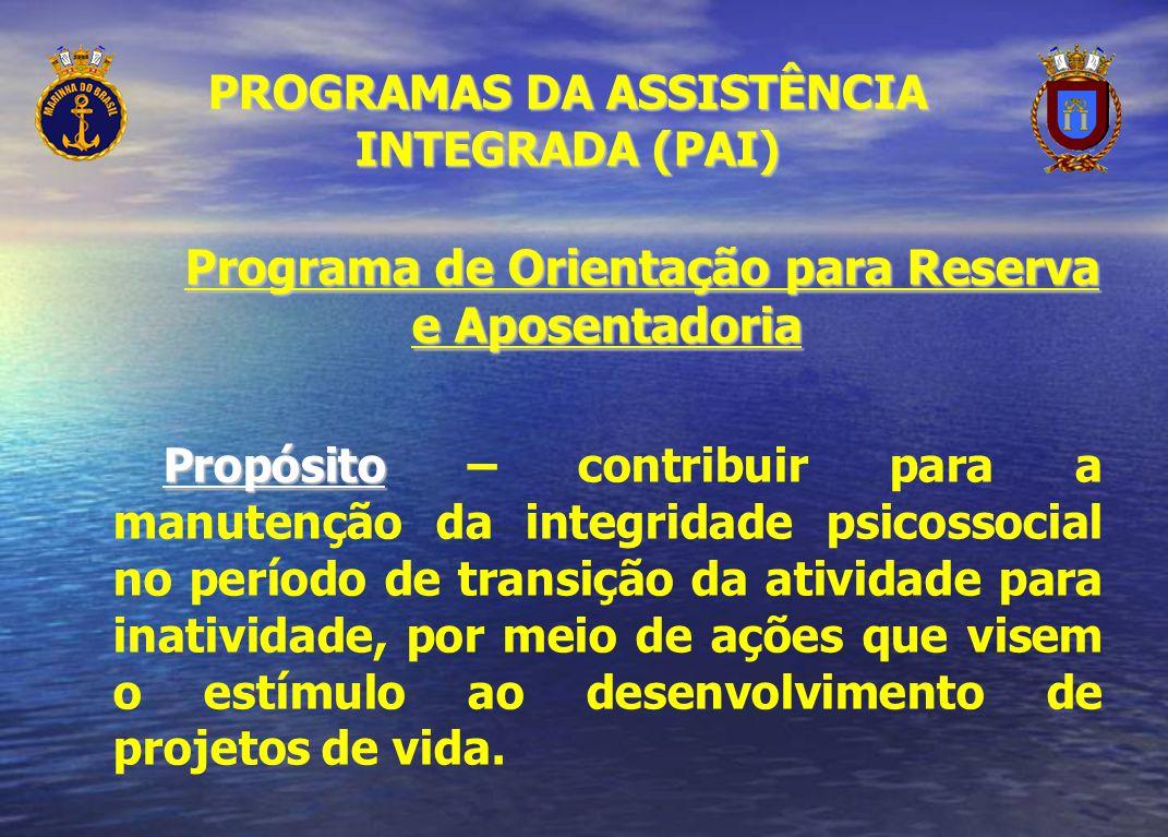 PROGRAMAS DA ASSISTÊNCIA INTEGRADA (PAI) Programa de Orientação para Reserva e Aposentadoria Propósito Propósito – contribuir para a manutenção da int