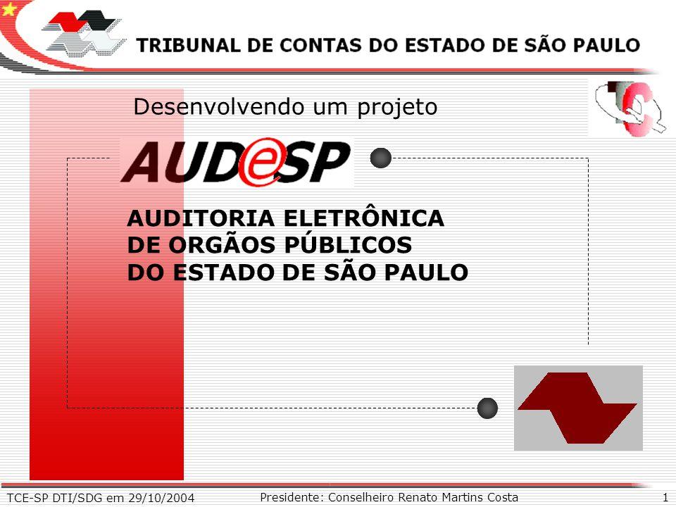 TCE-SP DTI/SDG em 29/10/2004 1 X Presidente: Conselheiro Renato Martins Costa AUDITORIA ELETRÔNICA DE ORGÃOS PÚBLICOS DO ESTADO DE SÃO PAULO Desenvolv