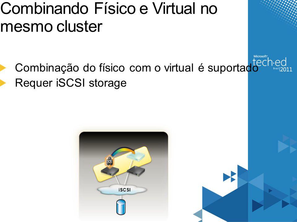 Combinando Físico e Virtual no mesmo cluster Combinação do físico com o virtual é suportado Requer iSCSI storage iSCSI