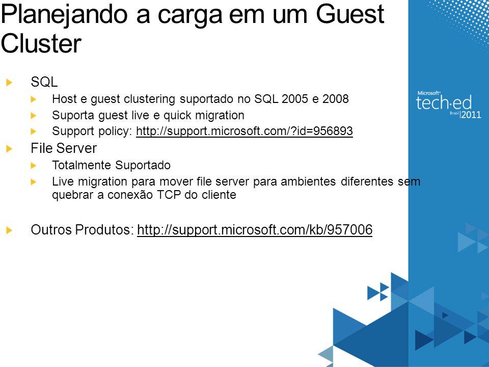 Planejando a carga em um Guest Cluster SQL Host e guest clustering suportado no SQL 2005 e 2008 Suporta guest live e quick migration Support policy: h