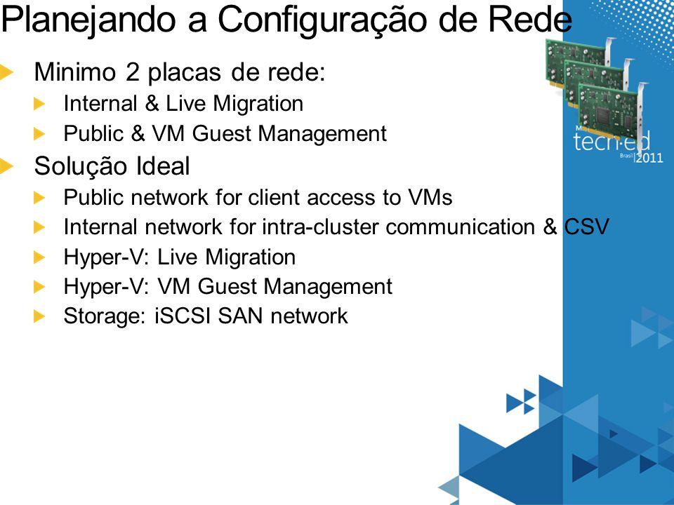 Planejando a Configuração de Rede Minimo 2 placas de rede: Internal & Live Migration Public & VM Guest Management Solução Ideal Public network for cli