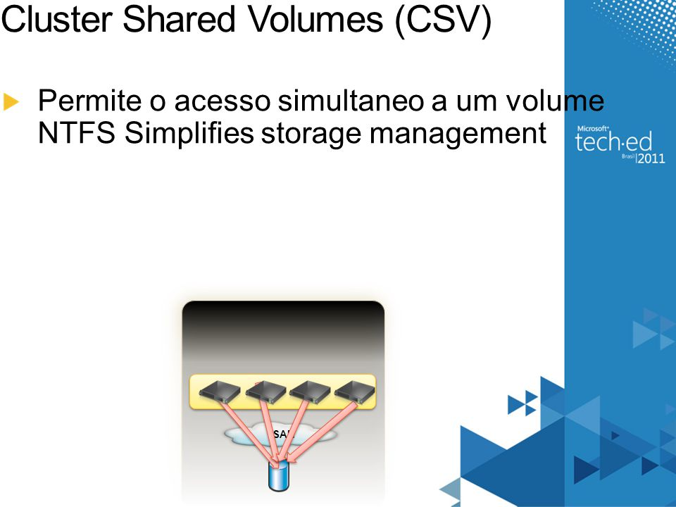 Cluster Shared Volumes (CSV) Permite o acesso simultaneo a um volume NTFS Simplifies storage management SAN