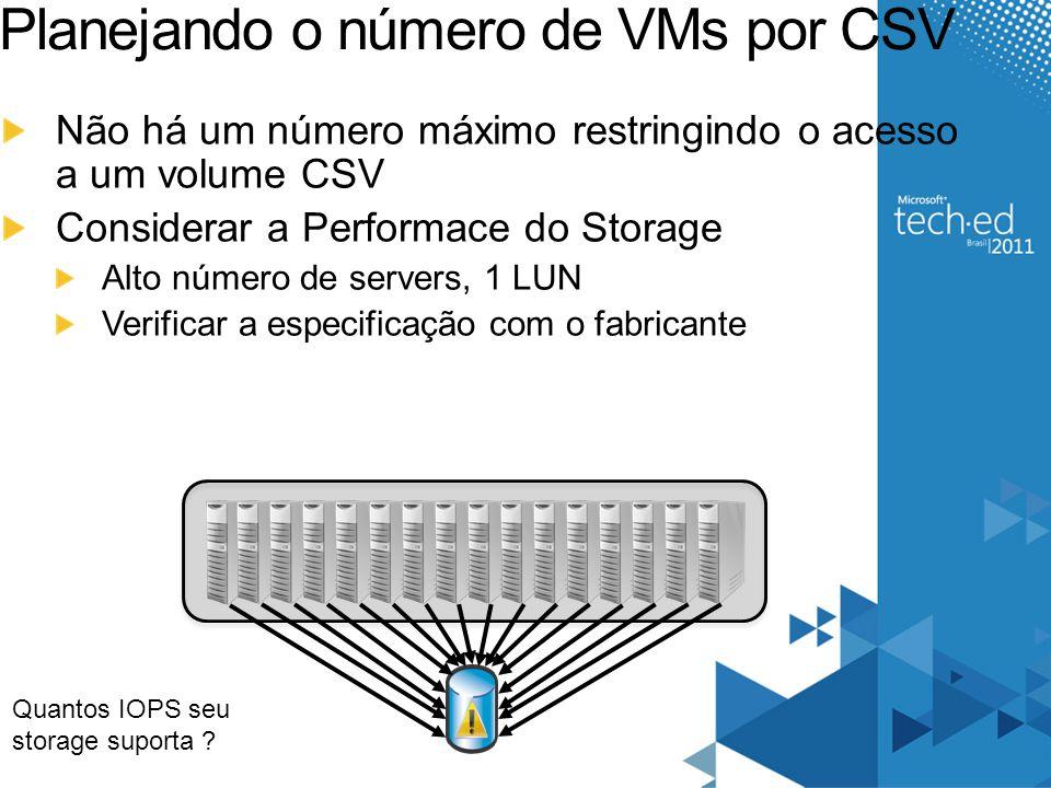Planejando o número de VMs por CSV Não há um número máximo restringindo o acesso a um volume CSV Considerar a Performace do Storage Alto número de ser